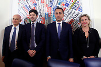 Spallanzani Hospital Scientist Director Giuseppe Ippolito, Italian Foreign Minister Luigi di Maio, Italy's Minister of Health Roberto Speranza and General Director of the hospital for infectious diseases Spallanzani Marta Branca.<br /> Rome February 27th 2020. Press conference at the Foreign Press Association about Coronavirus (Covid-19). The Italian Government try to calm the fears about the outbreak of the flu, to avoid a drop of the tourism and commercial relations.<br /> Photo Samantha Zucchi Insidefoto