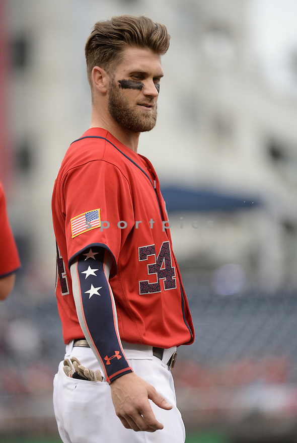 Washington Nationals Bryce Harper (34) during a game against the Milwaukee Brewers on July 4, 2016, at Nationals Park in Washington DC. The Brewers beat the Nationals 1-0.