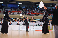 Contestants and judges at the 59th All Kendo Championship,  Budokan, Tokyo, Japan, November 3, 2011. Contestants from all over Japan compete doing the day-long event. Kendo is a popular martial art based on traditional Japanese swordsmanship.