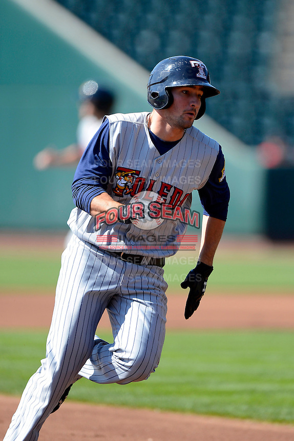 Toledo Mudhens outfielder Nick Castellanos #23 runs the bases during a game against the Columbus Clippers on April 22, 2013 at Huntington Park in Columbus, Ohio.  Columbus defeated Toledo 3-0.  (Mike Janes/Four Seam Images)