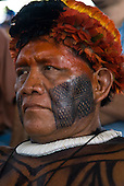 """Altamira, Brazil. """"Xingu Vivo Para Sempre"""" protest meeting about the proposed Belo Monte hydroeletric dam and other dams on the Xingu river and its tributaries. Tabata Kuikuro."""