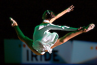 Olga Kapranova of Russia split leaps during solo gala exhibition at 2008 European Championships at Torino, Italy on June 7, 2008.  Photo by Tom Theobald.