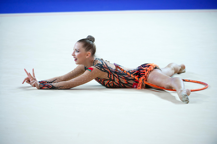 MELITINA STANIOUTA of Belarus performs with hoop at 2016 European Championships at Holon, Israel on June 18, 2016.