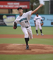 Jupiter Hammerheads pitcher Chad James #33 during a game against the Charlotte Stone Crabs at Roger Dean Stadium on June 30, 2011 in Jupiter, Florida.  (Stacy Jo Grant/Four Seam Images)