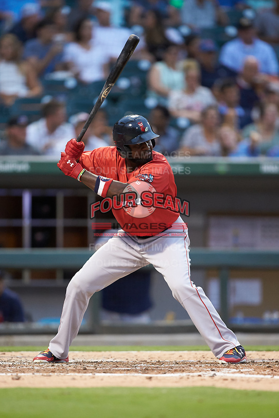 Brandon Phillips (23) of the Pawtucket Red Sox at bat against the Charlotte Knights at BB&T BallPark on July 19, 2018 in Charlotte, North Carolina. The Knights defeated the Red Sox 4-3.  (Brian Westerholt/Four Seam Images)