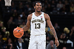 Bryant Crawford (13) of the Wake Forest Demon Deacons brings the ball up the court during second half action against the Richmond Spiders at the LJVM Coliseum on December 2, 2017 in Winston-Salem, North Carolina.  The Demon Deacons defeated the Spiders 82-53.  (Brian Westerholt/Sports On Film)