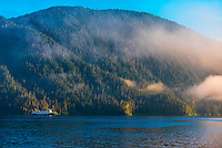 National Geographic Expeditions ship Sea Bird sailing through fog banks near Sitka, Alaska USA.