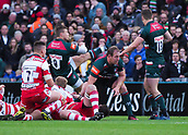 4th November 2017, Welford Road, Leicester, England; Anglo-Welsh Cup, Leicester Tigers versus Gloucester;  Harry Simmons (Leicester Tigers) kicks for position protected by teammate George McGuigan