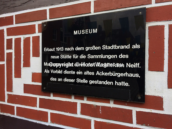 Germany, Buxtehude -- August 26, 2017 -- Information on the museum of local history -- © HorstWagner.eu