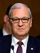"""United States Senator Kevin Cramer (Republican of North Dakota) listens to testimony before the US Senate Committee on Armed Services during a hearing on """"Chain of Command's Accountability to Provide Safe Military Housing and Other Building Infrastructure to Service members and Their Families"""" on Capitol Hill in Washington, DC on Thursday, March 7, 2019.<br /> Credit: Ron Sachs / CNP"""