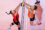 25.08.2018, …VB Arena, Bremen<br />Volleyball, LŠnderspiel / Laenderspiel, Deutschland vs. Niederlande<br /><br />Louisa Lippmann (#11 GER) - Nicole Koolhaas (#22 NED)<br /><br />  Foto &copy; nordphoto / Kurth