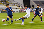 Ikromjon Alibaev of Uzbekistan (R) fights for the ball with Muroya Sei of Japan (L) during the AFC Asian Cup UAE 2019 Group F match between Japan (JPN) and Uzbekistan (UZB) at Khalifa Bin Zayed Stadium on 17 January 2019 in Al Ain, United Arab Emirates. Photo by Marcio Rodrigo Machado / Power Sport Images