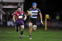 Zach Mercer of Bath United goes on the attack. Remembrance Rugby match, between Bath United and UK Armed Forces on November 9, 2015 at the Recreation Ground in Bath, England. Photo by: Patrick Khachfe / Onside Images