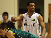Tall Blacks forward Mike Vukona communicates with the bench during the International basketball match between the NZ Tall Blacks and Australian Boomers at TSB Bank Arena, Wellington, New Zealand on 25 August 2009. Photo: Dave Lintott / lintottphoto.co.nz