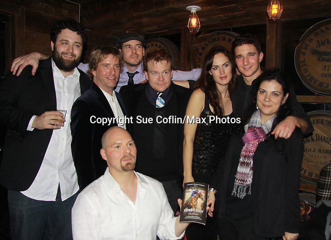 """Back L to R: author Samuel Brett Williams, Jared Culverhouse (cast), Anthony Sweeney (Exec Prod. L), Malcolm Madera, Beth Wittig & ATWT Jake Silbermann (cast) and Michole Biancosino (director) and Liam Joynt (producer - front) on Opening Night on December 2, 2011 - New York, NY – The Camisade Theatre Company proudly presents their inaugural theatrical production, the World Premiere of """"Derby Day"""" starring Jake Silbermann (ATWT), Malcolm Madera (AMC & GL), Jared Culverhouse and Beth Wittig. Derby Day runs from November 30 to December 17, 2011 in a limited engagement at The Clurman Theatre, located in the Theatre Row Complex at 410 West 42nd Street between 9th and 10th Avenues in New York City, New York.  Camisade Theatre Company is founded by Jake Silbermann, Malcolm Madera and Samuel Brett Williams. (Photo by Sue Coflin/Max Photos)"""
