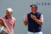 Phil Mickelson (USA) counts the number of U.S. President's Cup wins on his fingers as the U.S. crowd yells out loud during round 2 Four-Ball of the 2017 President's Cup, Liberty National Golf Club, Jersey City, New Jersey, USA. 9/29/2017.<br /> Picture: Golffile | Ken Murray<br /> <br /> All photo usage must carry mandatory copyright credit (&copy; Golffile | Ken Murray)