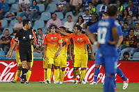 15.09.2012 SPAIN -  La Liga 12/13 Matchday 4th  match played between Getafe C.F. vs F.C. Barcelona (1-4) at Alfonso Perez stadium. The picture show Carles Puyol Saforcada (Spanish defender of Barcelona) celebrating his team's goal