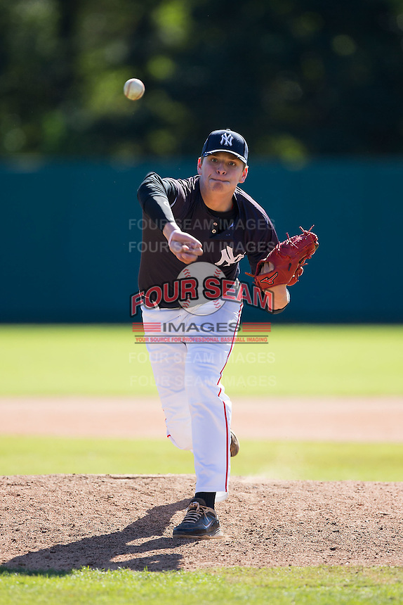 Nick Robertson (11) of Franklin County High School in Rocky Mount, Virginia playing for the New York Yankees scout team at the South Atlantic Border Battle at Doak Field on November 2, 2014.  (Brian Westerholt/Four Seam Images)