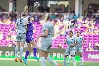 Orlando, FL - Sunday May 14, 2017: Samantha Mewis, Dani Weatherholt during a regular season National Women's Soccer League (NWSL) match between the Orlando Pride and the North Carolina Courage at Orlando City Stadium.