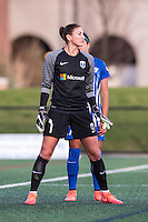 Allston, MA - Sunday, April 24, 2016: Seattle Reign FC goalkeeper Hope Solo (1) and Boston Breakers midfielder Kyah Simon (17). The Boston Breakers play Seattle Reign during a regular season NSWL match at Harvard University.