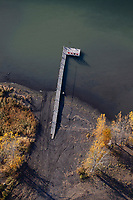 aerial photograph of the dock at Domain Du Fleuve winery and vineyards at the Saint Lawrence River in Varennes, near Montreal, Quebec, Canada
