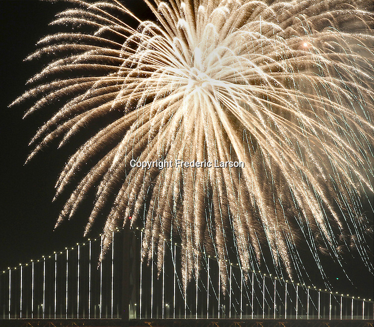 Superbowl 50 fireworks display on the Embaradero with the Bay Bridge in the background.