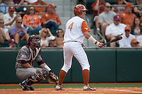 Texas Longhorns outfielder Colin Shaw #4 at bat during the NCAA baseball game against the Texas A&M Aggies on April 29, 2012 at UFCU Disch-Falk Field in Austin, Texas. The Longhorns beat the Aggies 2-1 in the last ever regular season game scheduled for the long time rivals. (Andrew Woolley / Four Seam Images)