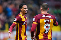 Tim Dieng of Bradford City celebrates scoring to make it 1-0 during the Sky Bet League 1 match between Bradford City and MK Dons at the Northern Commercial Stadium, Bradford, England on 24 April 2018. Photo by Thomas Gadd.