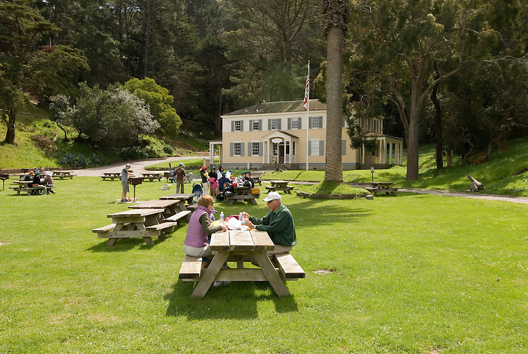 Picnic at Ayala Cove, Angel Island State Park, in San Francisco Bay, CA, California.  People disembark and picnic at Ayala Cove, then hike, bike, or tram perimeter road, with stops at Civil War era Camp Reynolds, and its restored officer house, or Spanish American War era Fort McDowell..Photo camari240-70518..Photo copyright Lee Foster, www.fostertravel.com, 510-549-2202, lee@fostertravel.com.