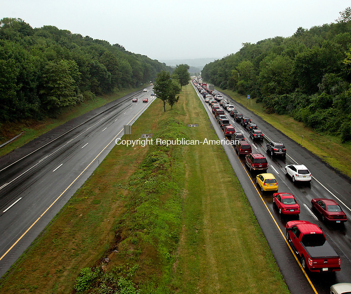 Middlebury, CT- 23, July 2010-072310CM02 Cars backed up for miles,  while emergency crews  cleared an accident involving a box truck on I-84 Eastbound in Middlebury Friday afternoon.  --Christopher Massa Republican-American