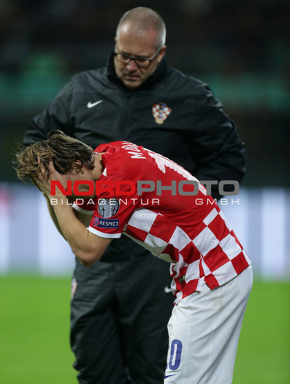 16.11.2014., Stadio Giuseppe Meazza, Milan, Italy - 15th UEFA European Championship, qualifying round, group H, Italy - Croatia. Injured Luka Modric. <br /> <br /> Foto &copy;  nph / PIXSELL / Marko Lukunic