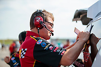 Sep 29, 2019; Madison, IL, USA; David Grubnic, crew chief for NHRA top fuel driver Brittany Force during the Midwest Nationals at World Wide Technology Raceway. Mandatory Credit: Mark J. Rebilas-USA TODAY Sports