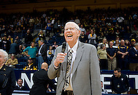 Former California basketball player Andy Wolfe talks to the fans after receiving Pete Newell Achievement Award during California's basketball game against UCLA at Haas Pavilion in Berkeley, California on February 14th, 2013.   California defeated UCLA, 77-63.