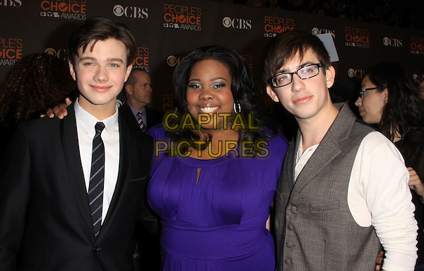 CHRIS COLFER, AMBER RILEY & KEVIN McHALE.Arrivals at the 2010 People's Choice Awards held at the Nokia Theater L.A. Live in Los Angeles, California, USA. .January 6th, 2010 .half length waistcoat white shirt black suit purple dress glasses grey gray .CAP/ADM/KB.©Kevan Brooks/AdMedia/Capital Pictures.