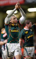 Photo: Richard Lane/Richard Lane Photography..Wales v South Africa. Prince William Cup. 24/11/2007. .South Africa's Bryan Habana applauds the fans.