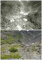 KLGO Photo Station CH-11: Scales, View to the northeast of the Golden Stairs from the Scales area below Chilkoot Pass, Klondike Gold Rush National Historical Park, Alaska, United States. Upper photo taken 1906 by Ora M. Leland (National Archives 76-AL-7-A7-8486). Lower photo taken August 20, 2013 by Ronald D. Karpilo Jr.