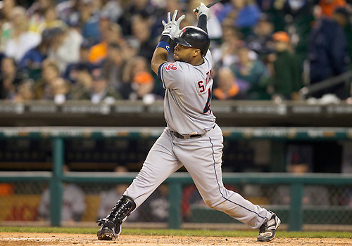 September 27, 2011:  Cleveland Indians first baseman Carlos Santana (#41) at bat during MLB game action between the Cleveland Indians and the Detroit Tigers at Comerica Park in Detroit, Michigan.  The Tigers defeated the Indians 9-6.
