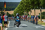 The peloton in action during Stage 3 of the Deutschland Tour 2019, running 189km from Gottingen to Eisenach, Germany. 31st August 2019.<br /> Picture: ASO/Marcel Hilger | Cyclefile<br /> All photos usage must carry mandatory copyright credit (© Cyclefile | ASO/Marcel Hilger)