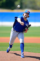 Toronto Blue Jays pitcher R.A. Dickey #43 delivers a pitch during a minor league Spring Training game against the New York Yankees at the Englebert Complex on March 19, 2013 in Dunedin, Florida.  (Mike Janes/Four Seam Images)