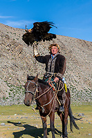 Mongolia, Bayan-Ulgii, Ulgii, Altai Mountains near Tsambagarav Mountain. Shaimurat, famous award winning eagle hunter.