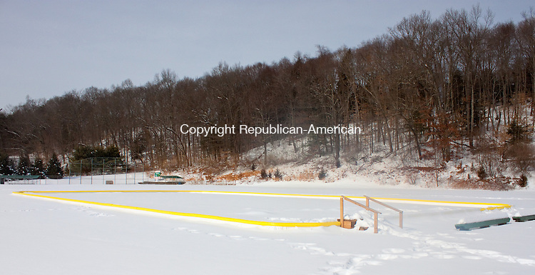 SOUTHBURY CT- FEBRUARY 12 2014 021214DA03- Officials believe that a broken down skating rink at Community Park in Southbury will not be useable again this year due to the liner which was punctured.