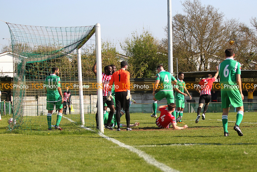 Elliot Styles (5) scores with a header  and celebrates during Waltham Abbey vs AFC Hornchurch, Ryman League Division 1 North Football at Capershotts on 8th April 2017
