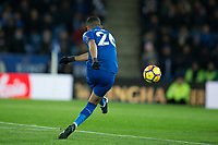 Riyad Mahrez of Leicester City scores his sides second goal during the Premier League match between Leicester City and Tottenham Hotspur at the King Power Stadium, Leicester, England on 28 November 2017. Photo by James Williamson / PRiME Media Images.