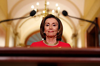 Speaker of the United States House of Representatives Nancy Pelosi (Democrat of California) arrives to speak outside her office on Capitol Hill, in Washington, DC on Monday, March 23, 2020.<br /> Credit: Andrew Harnik / Pool via CNP/AdMedia