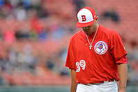 Buffalo Bisons pitcher Ricky Romero #39 walks off the field after being pulled during the first game of a double header against the Lehigh Valley IronPigs on June 7, 2013 at Coca-Cola Field in Buffalo, New York.  Buffalo defeated Lehigh Valley 4-3.  (Mike Janes/Four Seam Images)