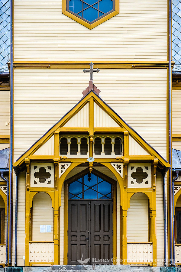 Norway, Lofoten. Vågan Church, or Lofotkatedralen, was built in 1898. It is the largest wooden building in Norway north of Trondheim.