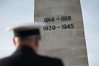 Pictured: The cenotaph memorial with the dates of the two world wars Friday 11 November 2016<br /> Re: Remembrance Day service at the Cenotaph in Swansea, south Wales, UK.