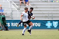 Cary, North Carolina  - Saturday July 01, 2017: Madison Tiernan and Taylor Smith during a regular season National Women's Soccer League (NWSL) match between the North Carolina Courage and the Sky Blue FC at Sahlen's Stadium at WakeMed Soccer Park. Sky Blue FC won the game 1-0.