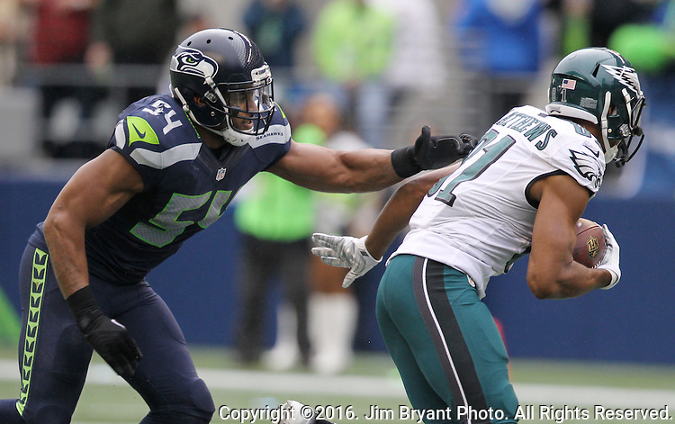 Philadelphia Eagles wide receiver Jordan Matthews (81) tries to get away from Seattle Seahawks middle linebacker Bobby Wagner (54) at CenturyLink Field in Seattle, Washington on November 20, 2016.  Seahawks beat the Eagles 26-15.  ©2016. Jim Bryant Photo. All Rights Reserved.