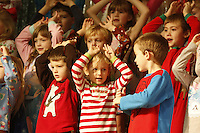 NWA Media/DAVID GOTTSCHALK - 12/16/14 - Kindergarten Christmas Show at Root Elementary School in Fayetteville Tuesday December 16, 2014. The theme of the performance was Holiday Dreams and was performed for the school body in the morning followed by a performance in the evening.